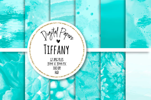 Print on Demand: Tiffany Abstract Digital Paper Set Graphic Backgrounds By loyaarts