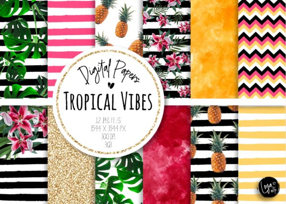 Print on Demand: Tropical Vibes Digital Paper Set Grafik Hintegründe von loyaarts