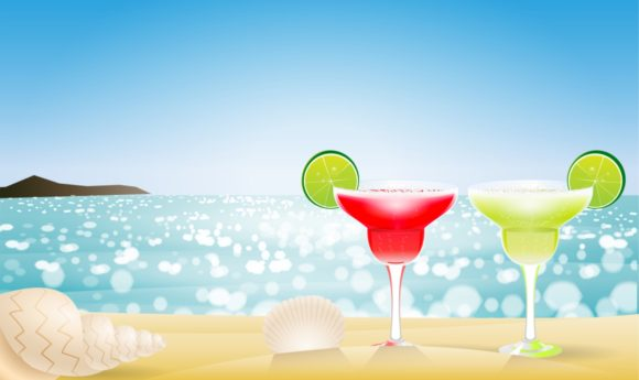 Two Margarita Cocktail Party Sand Beach Graphic Illustrations By Kapitosh