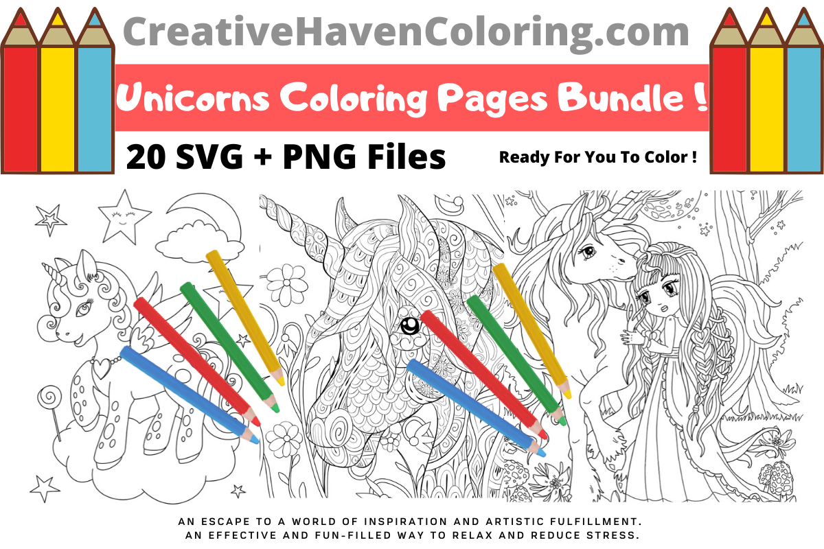 Download Free Unicorn Coloring Pages Bundle Bundle Creative Fabrica for Cricut Explore, Silhouette and other cutting machines.
