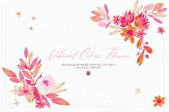 Print on Demand: Vibrant Colors Flowers - Watercolor Set Graphic Illustrations By webvilla