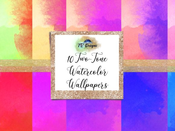 Download Free Vibrant Two Tone Watercolour Wallpapers Graphic By Te Designs for Cricut Explore, Silhouette and other cutting machines.