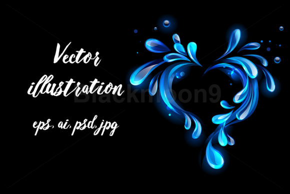Water Heart Graphic Illustrations By Blackmoon9