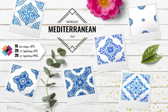 Watercolor Blue and White Tiles Graphic Patterns By DoodleBox