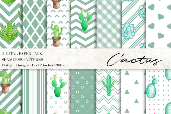 Watercolor Cactus Digital Papers Graphic Patterns By BonaDesigns