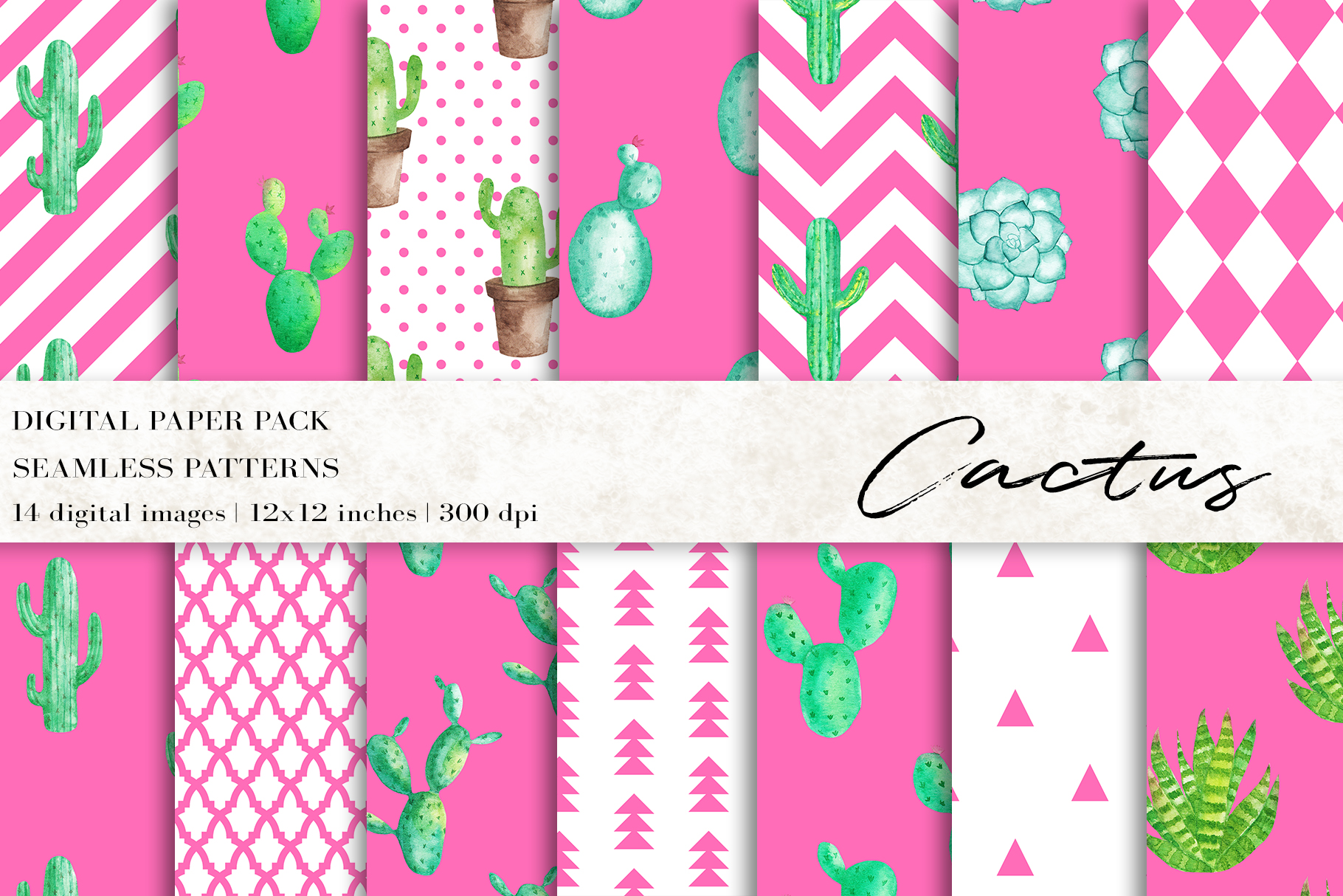Download Free Watercolor Cactus Digital Papers Graphic By Bonadesigns for Cricut Explore, Silhouette and other cutting machines.