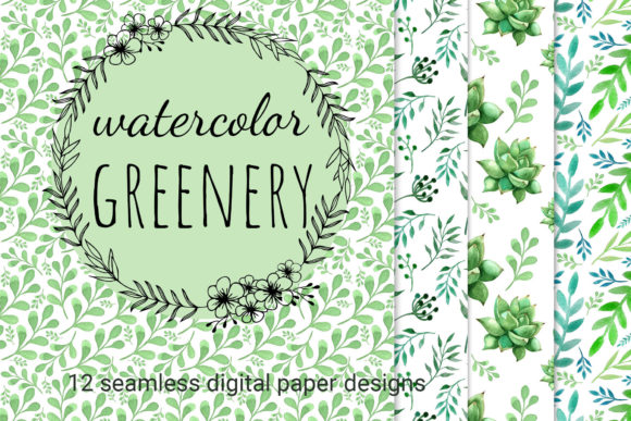 Download Free Watercolor Greenery Seamless Patterns Graphic By Reddotshouse for Cricut Explore, Silhouette and other cutting machines.
