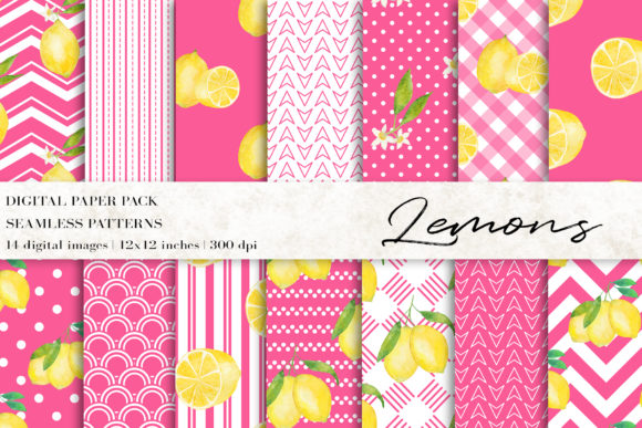 Watercolor Lemons Digital Papers Gráfico Moldes Por BonaDesigns