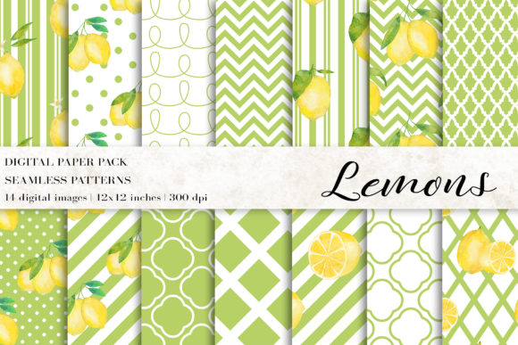 Watercolor Lemons Digital Papers Graphic Patterns By BonaDesigns
