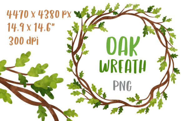 Watercolor Oak Wedding Wreath Art Graphic Illustrations By GreenWolf Art