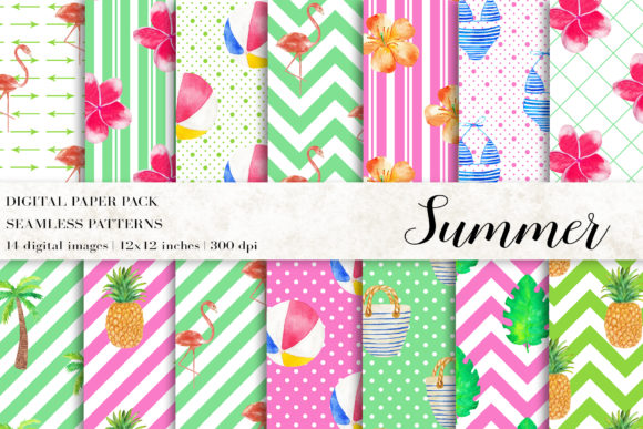 Watercolor Summer Digital Papers Graphic Patterns By BonaDesigns
