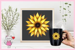 Watercolor Sunflower Frames Clipart Graphic Illustrations By  Magic world of design