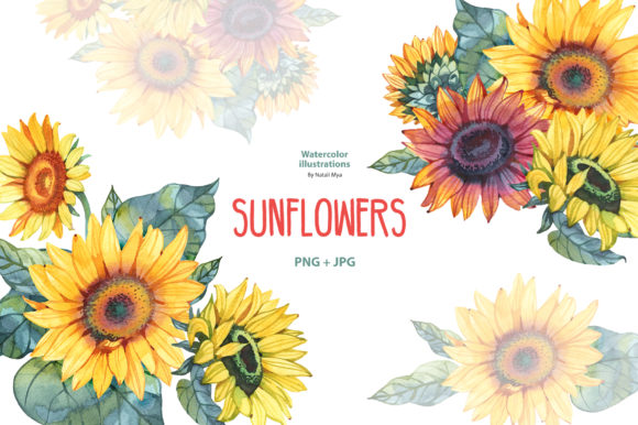 Download Free Watercolor Sunflowers Graphic By Natalimyastore Creative Fabrica for Cricut Explore, Silhouette and other cutting machines.