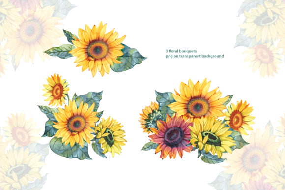 Watercolor Sunflowers Graphic Illustrations By NataliMyaStore - Image 2
