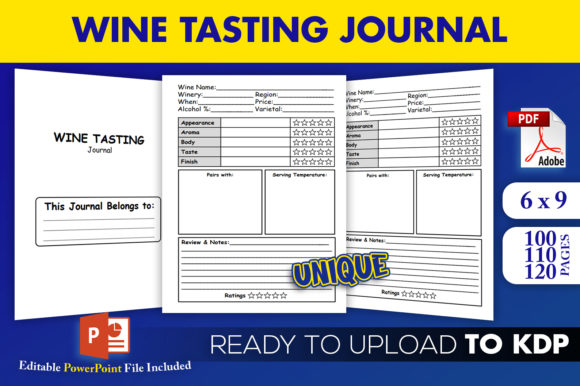 Print on Demand: Wine Tasting Journal KDP Logbook Tracker Graphic KDP Interiors By Beast Designer