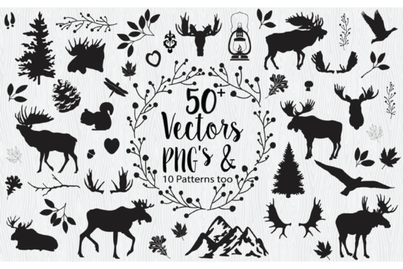 Woodland Moose Vectors & Cliparts Graphic Illustrations By LeskaHamatyDesign