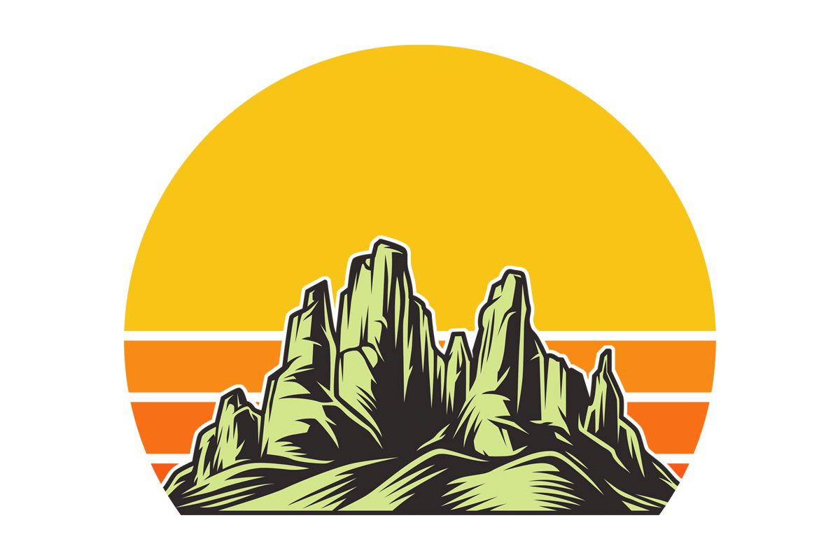 Download Free Yellow Retro Sunset Desert Mountains Graphic By Sunandmoon for Cricut Explore, Silhouette and other cutting machines.