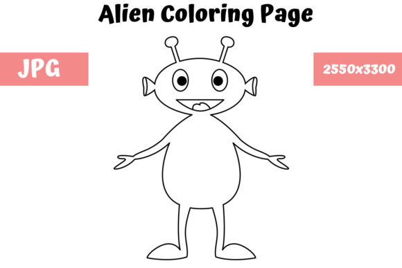 Print on Demand: Alien - Coloring Page for Kids 1 Graphic Coloring Pages & Books Kids By MyBeautifulFiles