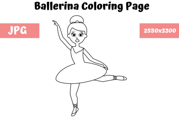 Print on Demand: Ballerina - Coloring Page for Kids Graphic Coloring Pages & Books Kids By MyBeautifulFiles