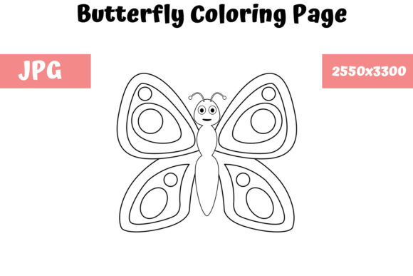 Download Free Butterfly Coloring Page For Kids Graphic By Mybeautifulfiles for Cricut Explore, Silhouette and other cutting machines.