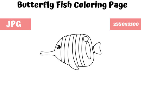 Print on Demand: Butterfly Fish - Coloring Page for Kids Graphic Coloring Pages & Books Kids By MyBeautifulFiles