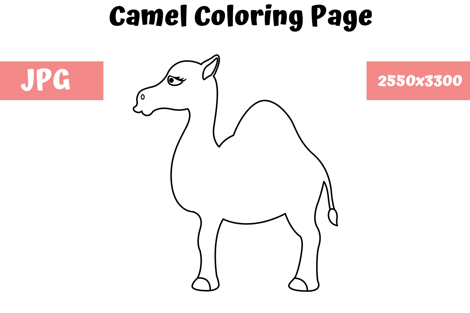 Download Free Camel Coloring Page For Kids Graphic By Mybeautifulfiles for Cricut Explore, Silhouette and other cutting machines.