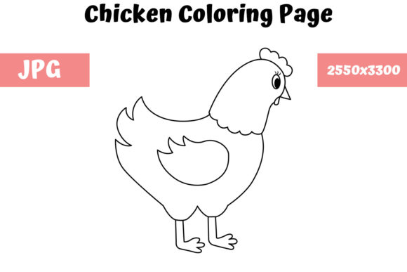 Print on Demand: Chicken - Coloring Page for Kids Graphic Coloring Pages & Books Kids By MyBeautifulFiles