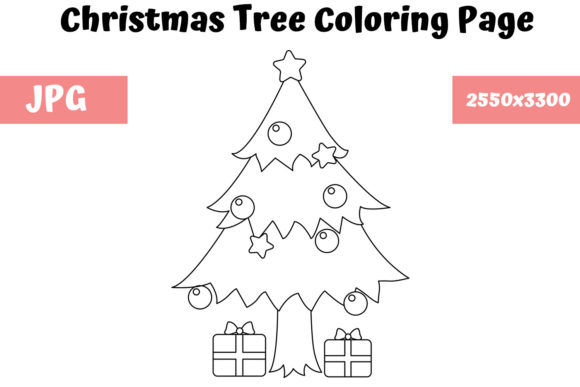 Download Free Christmas Tree Coloring Page For Kids Graphic By for Cricut Explore, Silhouette and other cutting machines.