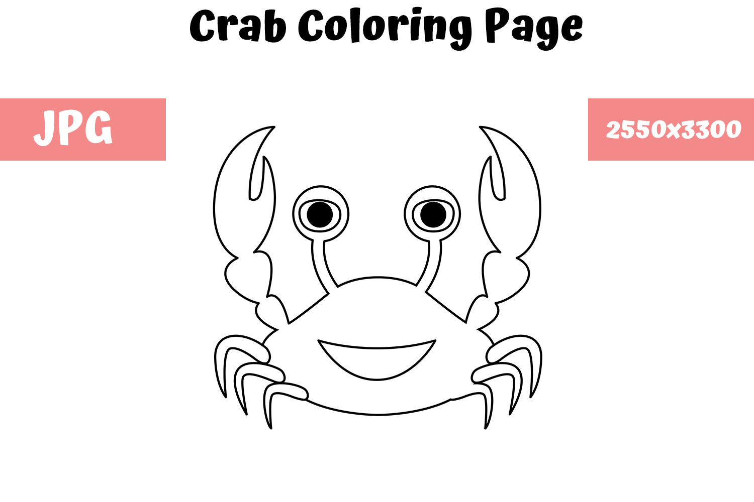 Download Free Crab Coloring Page For Kids Graphic By Mybeautifulfiles Creative Fabrica for Cricut Explore, Silhouette and other cutting machines.