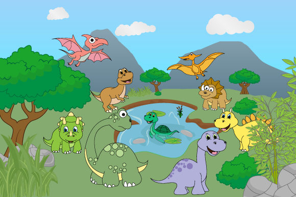 Download Free Cute Dinosaur In The Forest Graphic By Curutdesign Creative for Cricut Explore, Silhouette and other cutting machines.