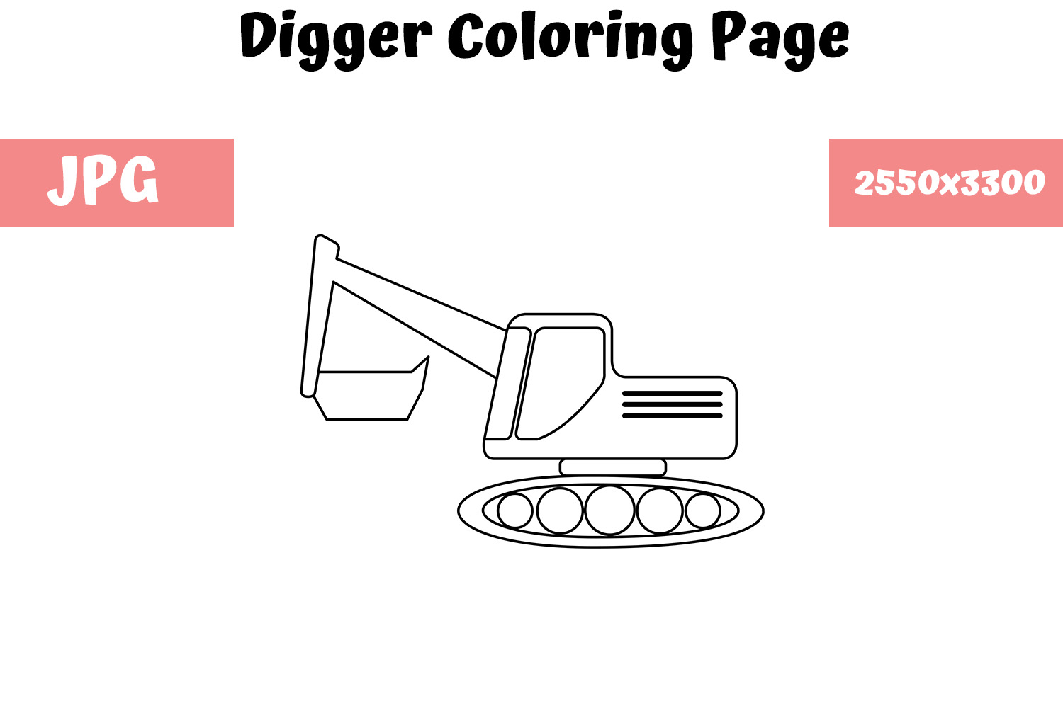Download Free Digger Coloring Page For Kids Graphic By Mybeautifulfiles for Cricut Explore, Silhouette and other cutting machines.