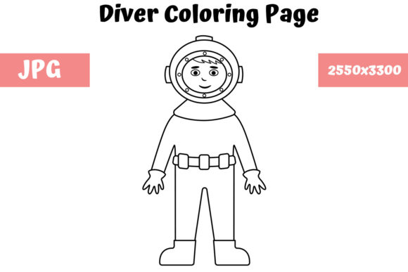 Print on Demand: Diver - Coloring Page for Kids Graphic Coloring Pages & Books Kids By MyBeautifulFiles