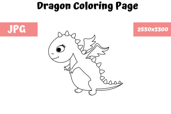 Print on Demand: Dragon - Coloring Page for Kids Graphic Coloring Pages & Books Kids By MyBeautifulFiles