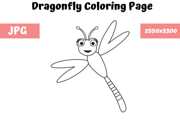 Download Free Dragonfly Coloring Page For Kids Graphic By Mybeautifulfiles for Cricut Explore, Silhouette and other cutting machines.