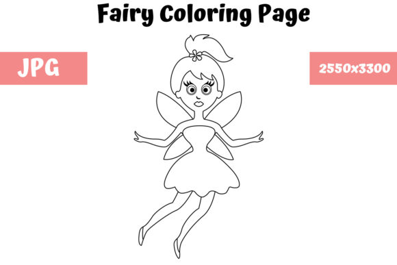 Print on Demand: Fairy - Coloring Page for Kids Graphic Coloring Pages & Books Kids By MyBeautifulFiles