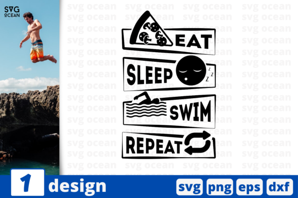 Download Free Eat Swim Sleep Repeat Quote Graphic By Svgocean Creative Fabrica for Cricut Explore, Silhouette and other cutting machines.