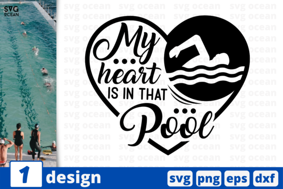 Download Free My Heart Is In That Pool Quote Graphic By Svgocean Creative Fabrica for Cricut Explore, Silhouette and other cutting machines.