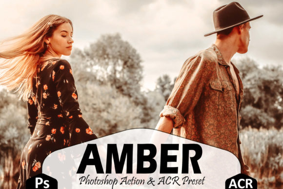 10 Amber Photoshop Actions Preset Graphic Free Download