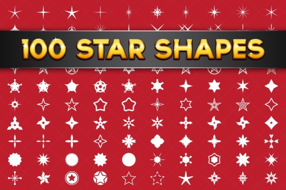 100 Vector Star Shapes Graphic Illustrations By pixaroma