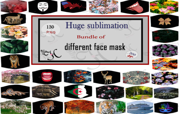 130 Sublimation Face Masks Bundle Graphic Print Templates By Heba Morsy
