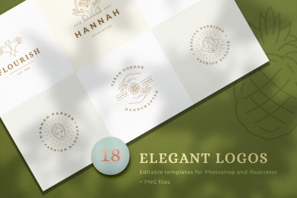 Download Free 18 Elegant Line Logos Bundle Graphic By Vasyako1984 Creative Fabrica for Cricut Explore, Silhouette and other cutting machines.