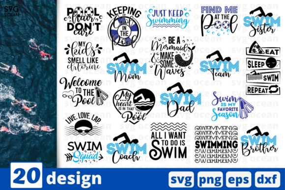 Download Free 20 Swimming Quotes Bundle Graphic By Svgocean Creative Fabrica for Cricut Explore, Silhouette and other cutting machines.