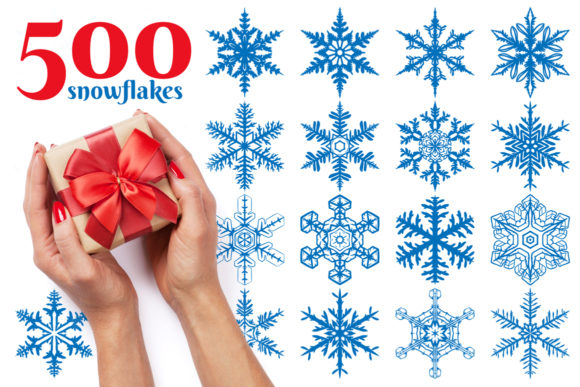 500 Snowflake Vector Ornaments Graphic Illustrations By pixaroma