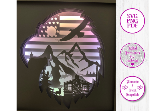 Download Free American Eagle Paper Cut Shadow Box Graphic By Jumbleink Digital for Cricut Explore, Silhouette and other cutting machines.