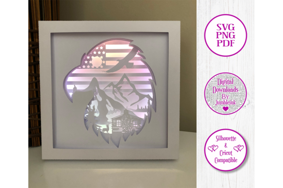 American Eagle Paper Cut Shadow Box Graphic Download
