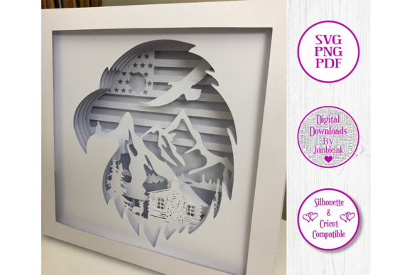 American Eagle Paper Cut Shadow Box Graphic Preview