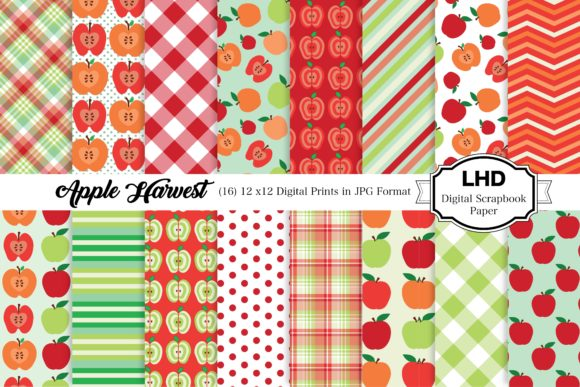 Download Free Apple Harvest Digital Paper Patterns Graphic By Leskahamatydesign Creative Fabrica for Cricut Explore, Silhouette and other cutting machines.