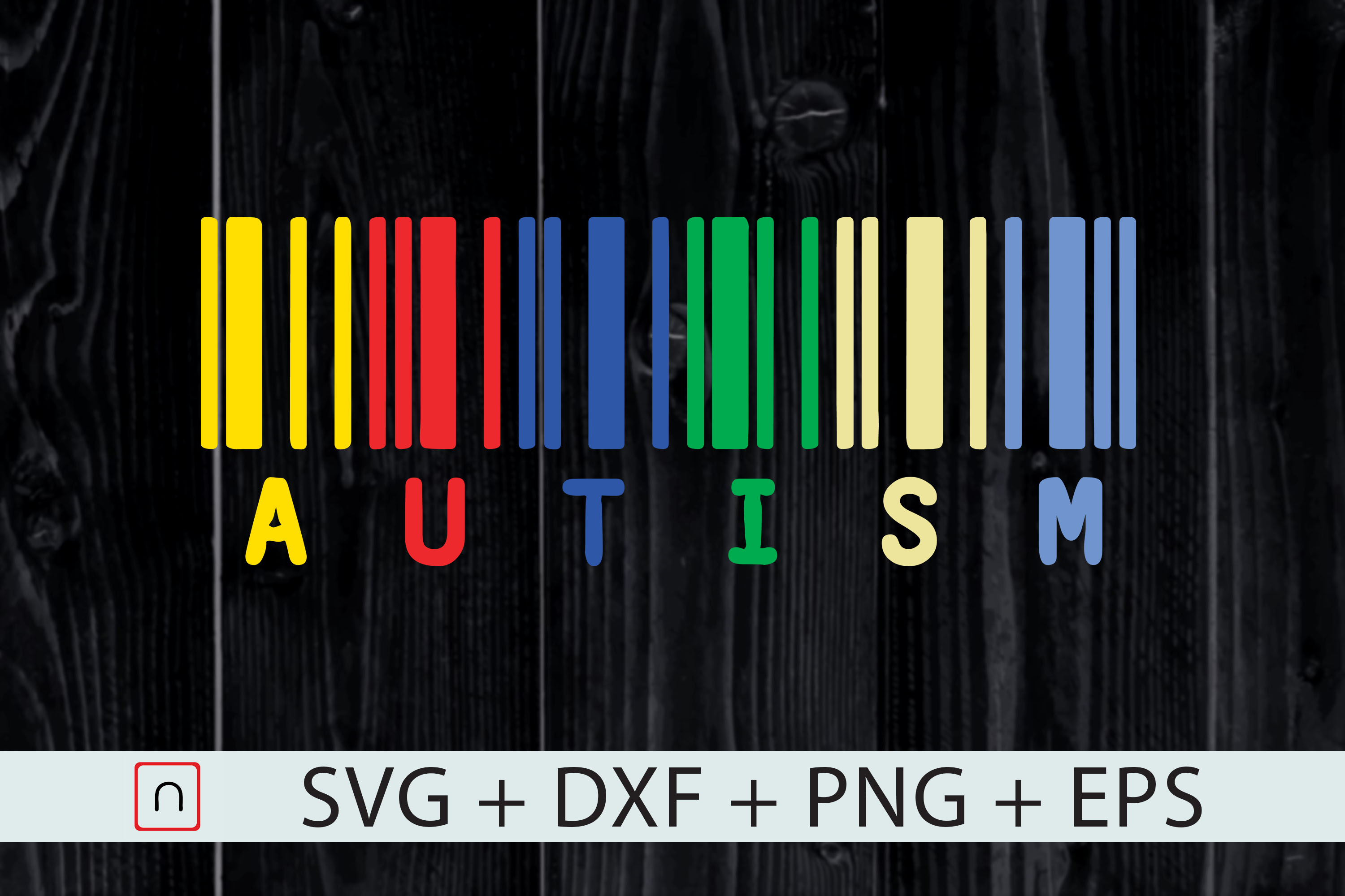Download Free Autism Colorful Barcode Graphic By Novalia Creative Fabrica for Cricut Explore, Silhouette and other cutting machines.