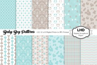 Baby Boy Patterns - Digital Papers Graphic Patterns By LeskaHamatyDesign