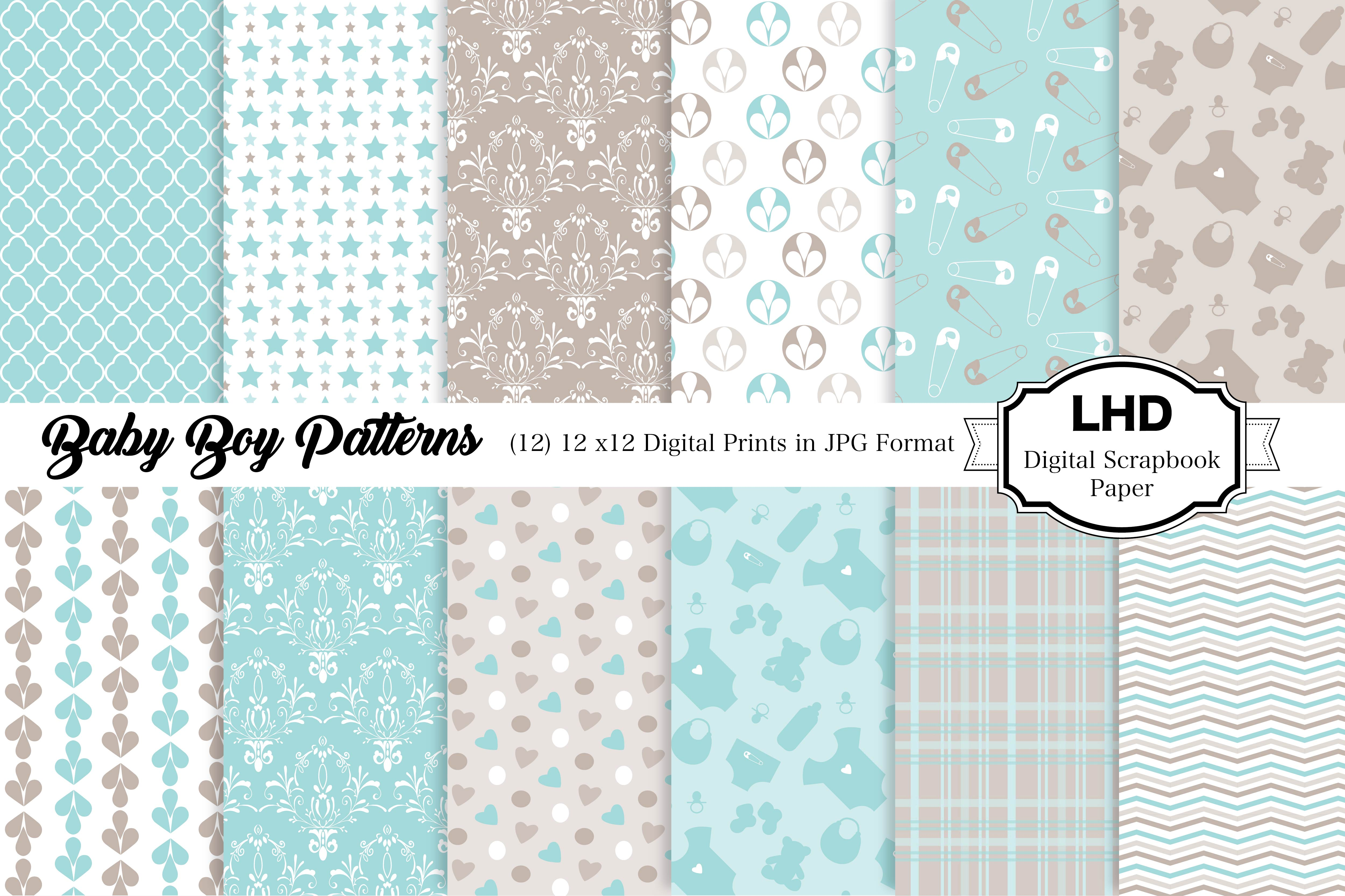 Download Free Baby Boy Patterns Digital Papers Graphic By Leskahamatydesign for Cricut Explore, Silhouette and other cutting machines.